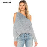 LASPERAL 2018 Fashion Off Shoulder Hollow Out T Shirts Women Casual Solid Long Sleeve Tee Shirts
