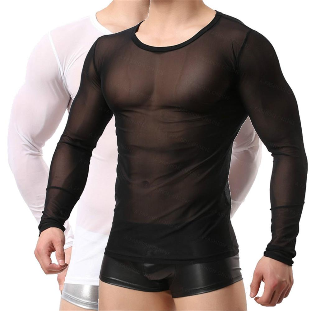 Unisex!Gauze Sheer Black & White Tops Tees Undershirts See Through Long Sleeve Shirts Sexy Women&Men's Mesh Sexy Sleepwear