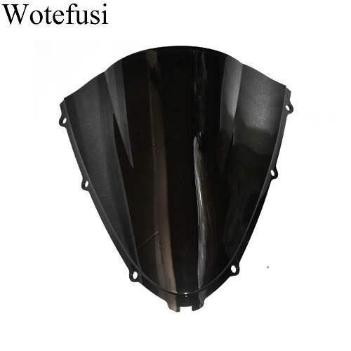 Wotefusi Black Motorcycle Windshield Trim Shadow For Kawasaki ZX-14R 06-09 Windscreen [CK521]