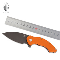 Kizer Hunting Knife Survival Knives New Special Gray Blade Roach Flipper Knife Outdoor Camping Tools