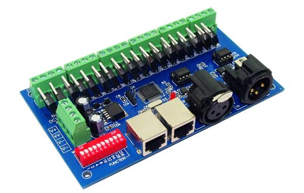 کنترل کننده 18 کانال DMX512 RGB 6 گروه RGB 18CH DMX512 رمزگشایی DC12-24V ورودی هر کانال حداکثر 3A