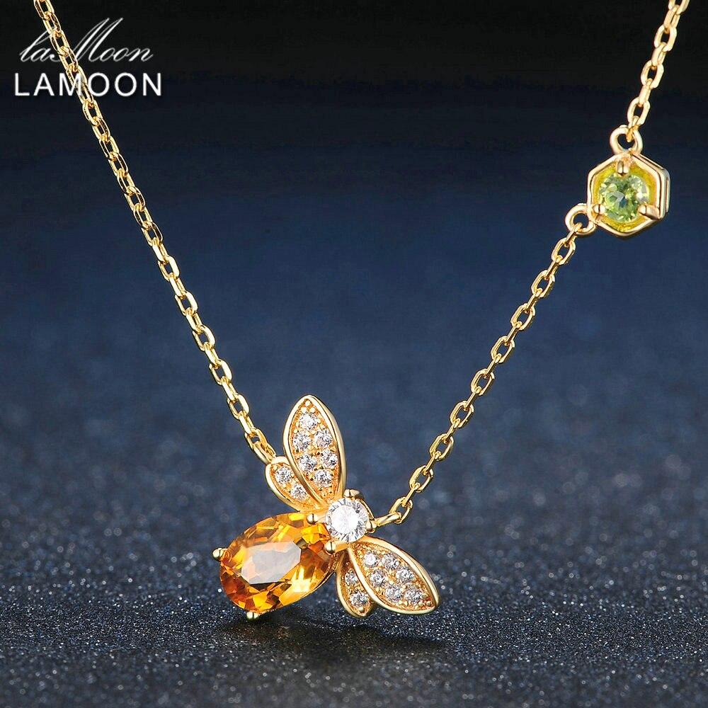 LAMOON Bee 5x7mm 1ct 100% citrino Natural de la joyería de la plata esterlina 925 14 K chapado en oro amarillo cadena COLLAR COLGANTE S925 LMNI015