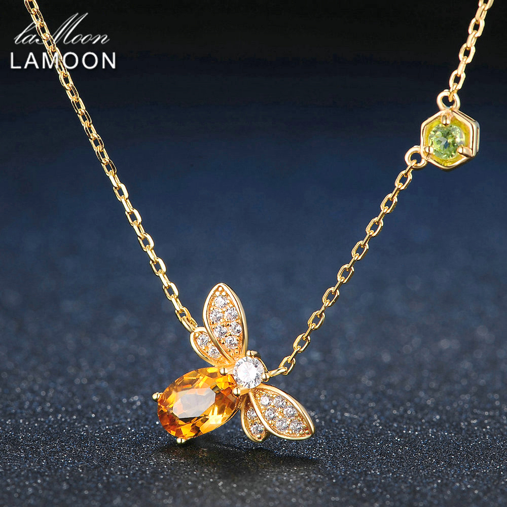 LAMOON Bee 925 Sterling Silver Necklace Natural Citrine Gemstone Necklaces 14K Real Gold Plated Chain Pendant Jewelry LMNI015