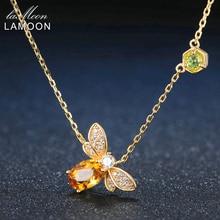 LAMOON Bee collar de plata de ley 925 con gema citrina Natural, cadena chapada en oro de 14K, joyería LMNI015