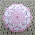 Handmade chinês Sun Umbrella Parasol Do Laço Guarda-chuva De Casamento Decoração do Bordado Para O Guarda-chuva De Noiva Mariage Ombrelle 9 Cores