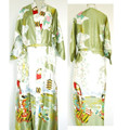 Free Shipping Green Chinese Women's Silk Rayon Robe Kimono Bath Gown Nightgown Size S M L XL XXL XXXL W2S003