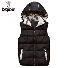 2017 New Mens Jacket Sleeveless Veste Homme Winter Fashion Casual Coats Male Hooded Male Vest Plus Size 4XL