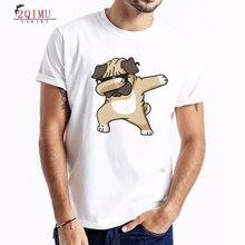 2QIMU 2019 Mens Cotton Short Sleeve T-Shirt Summer Slim Cartoon Dog Pattern Print Hip Hop Casual Style O-Neck Top Tees