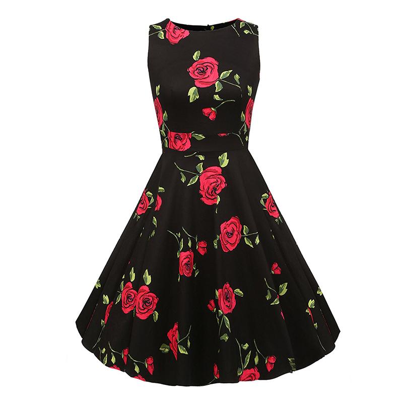 Kostlish Cotton Summer Dress Women 2017 Sleeveless Tunic 50s Vintage Dress Belt Elegant Print Rockabilly Party Dresses Sundress (49)