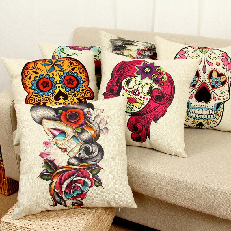 Halloween Mexican Sugar Skull Cushion (No Inner) Decorative Throw Pillow  Sofa Home Decor Almofada Cojines Decorativos Coussin In Cushion From Home U0026  Garden ...
