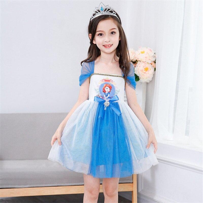 Sofia Princess Dress Kids Cosplay Costumes Girls New Arrival: Summe Girls Sofia Princess Dresses Kids Cosplay Costume