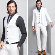 Custom White Groom Tuxedos Men Suits for Wedding Suits Man Blazers One Button 3Piece Latest Coat Pants Designs Plus Size Suits white suits tpb