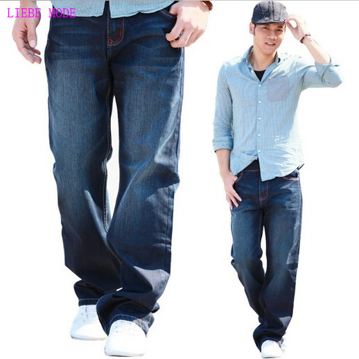 Large Sizes Baggy Loose Jean Homme Trousers For Men Casual Style Fashion Denim Straight Jeans Mens Wide Leg Pants Big Size 46 48 denim straight leg loose mens trouser jean chic pants baggy pocket cargo pants trousers loose jeans blue plus size free shipping