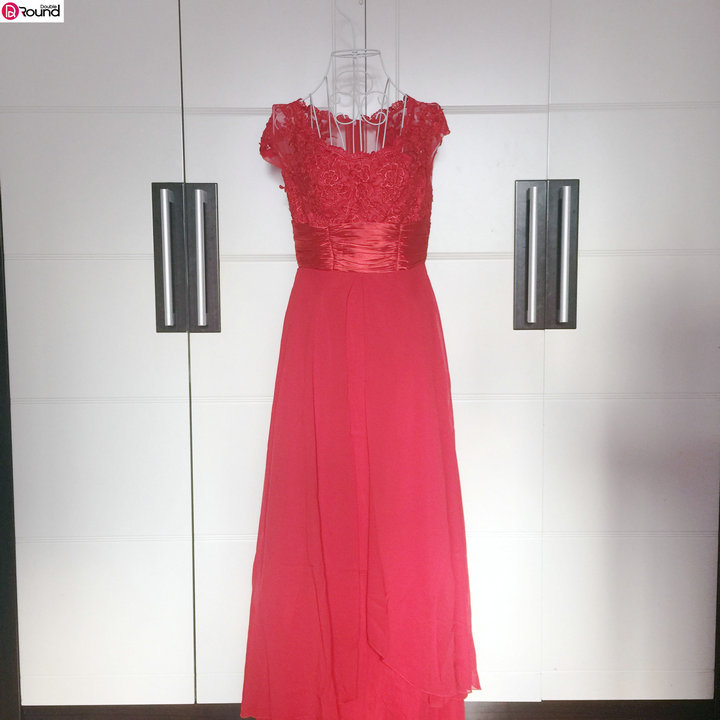 Promotion`Fascinating and Charming V-neck Pleated Red Lace Evening Dress 92A(China (Mainland))