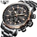 2019 LIGE мужские часы брендовые Роскошные Бизнес Спортивные кварцевые все стальные мужские часы военные водонепроницаемые хронограф Relogio ...