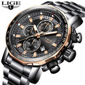 Relojes para hombre 2019 LIGE, marca de lujo, deportivos, de cuarzo, reloj de acero para hombre, reloj militar a prueba de agua, cronógrafo, reloj Masculino
