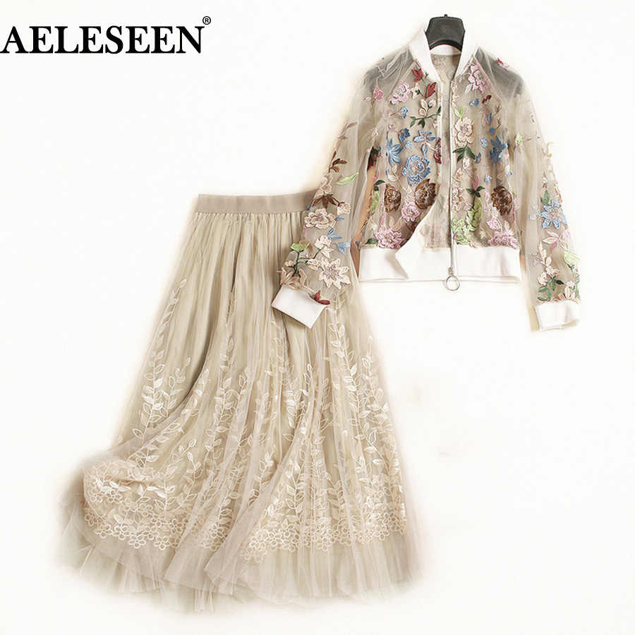 AELESEEN Top Quality Runway 2 Piece Suit Women Autumn Floral Embroidery Long Lantern Sleeve Perspect Mesh Top +Luxury Skirt Set