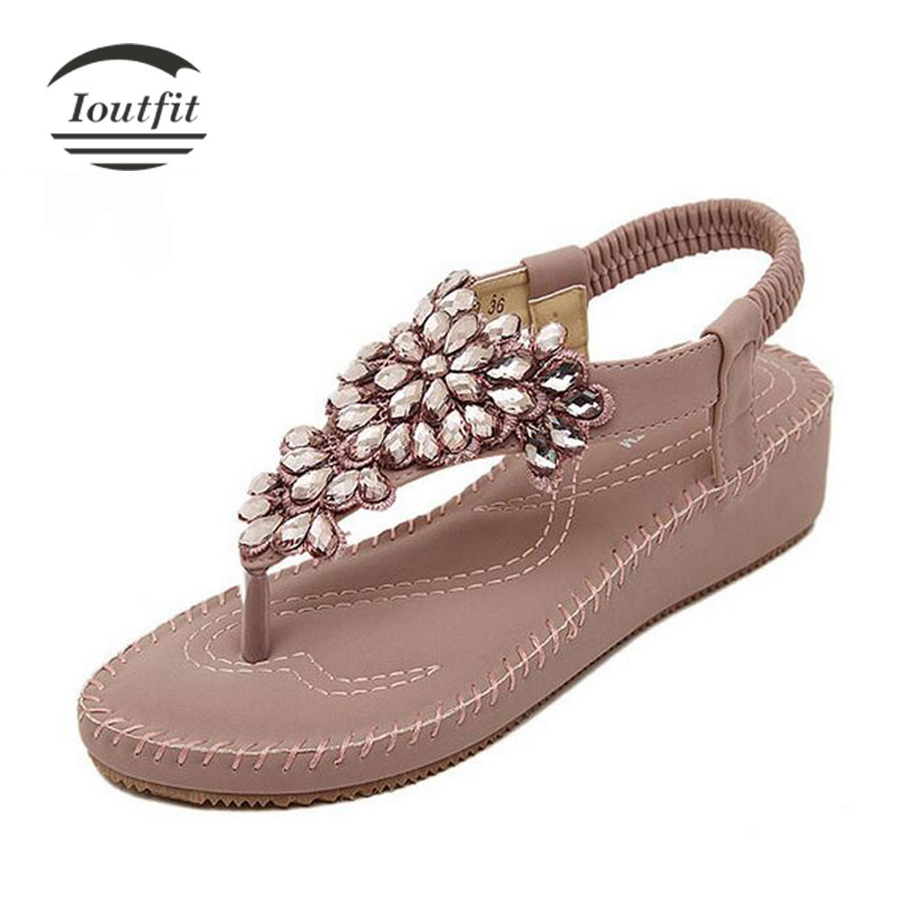 ФОТО Ioutfit Fashion Flip Flops 2017 Summer Bohemia Rhinestone Sandals Women Beach Shoes Ankle Strap Plus Size 225-250mm