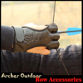 3 Finger Gloves Leather in Black High Elastic Hand Protection Archery Protective Gloves for Archery Hunting Shooting
