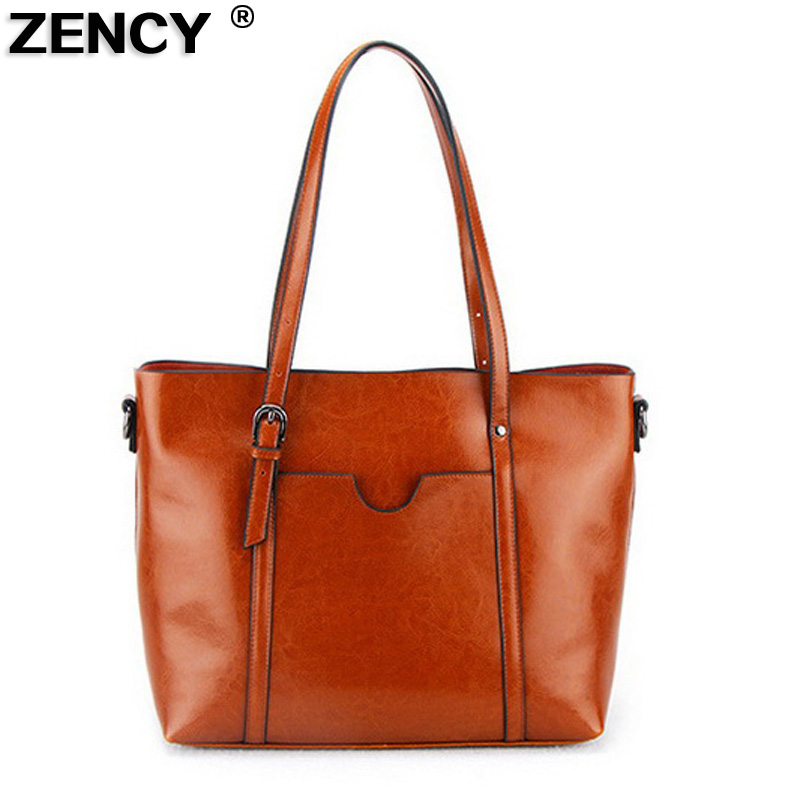 2018 New Famous Brand Women Tote Bucket Casual Bags Female Genuine Leather Woman Oil Wax Cowhide Leather Shoulder Shopping Bag new 2017 fashion brand genuine leather women handbag europe and america oil wax leather shoulder bag casual women