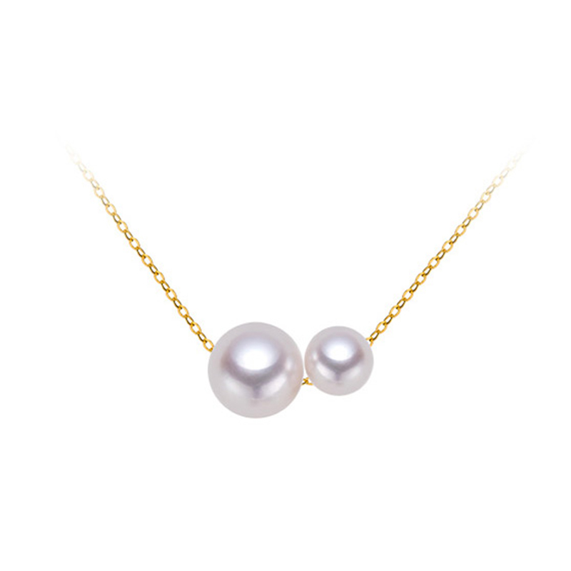 Sinya Classical 18k gold necklace with 2pcs Natural Round Pearls for ladies women Mom girls gift Length 45cm au750 gold chains real diamond princess pendant 8 5 10 5mm natrual round pearl charm necklace in 18k au750 gold with 45cm chains for women ladies