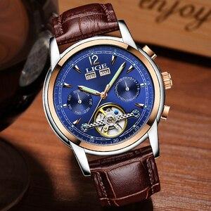 Image 3 - Moda feminina relógios de marca superior luxruy lige relógio automático mulher à prova dwaterproof água relógio esporte senhoras couro negócios relógio de pulso