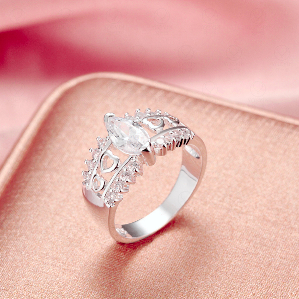 Silver Plated Rings For Women Marquise Cut Cz Diamond Engagement ...