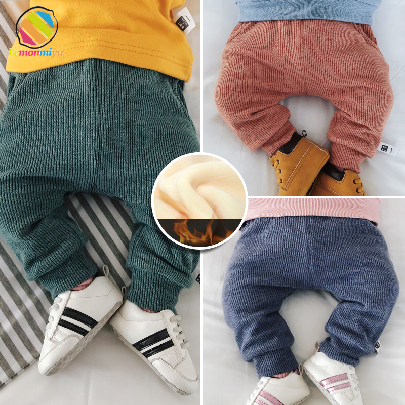 Lemonmiyu Baby Thicken Knitted Pants Plus Velvet Cotton Solid Infants Full Length Warm Trousers Solid Casual Elastic Harem Pants solid rolled hem pants