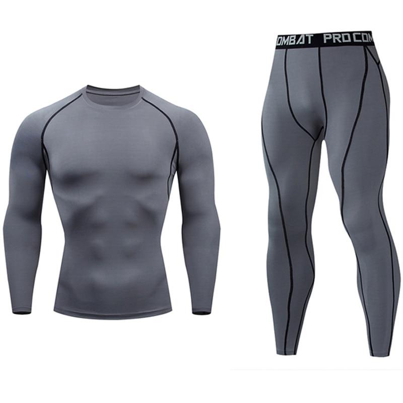 Men Compression Long Sleeve Shirt Crossfit T-shirt Pants Sweatshirt Sweat Suits MMA Rashgard Kit Jogging Suits S-4XL