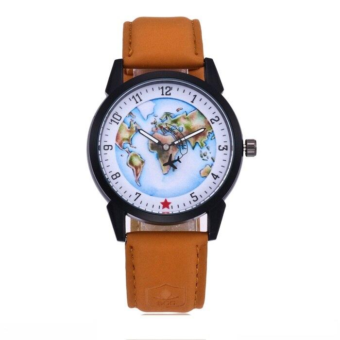 2017 New leisure luxury mens watches world map airplane seconds quartz belt business men watch