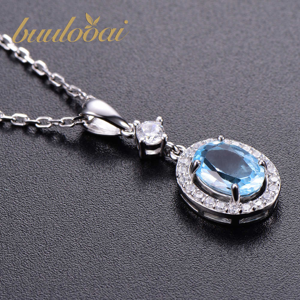 buulooai Gemstone Nano Sky Blue Topaz Pendants 25 Sterling Silver Necklaces Engagement Wedding Necklace For Women no Chain