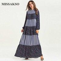 Missakso Long Blue Dress Loose Women Velvet Ruffles Autumn Fall Fashion Urban Floral Elegant Ramadan Clothing Casual Maxi Dress