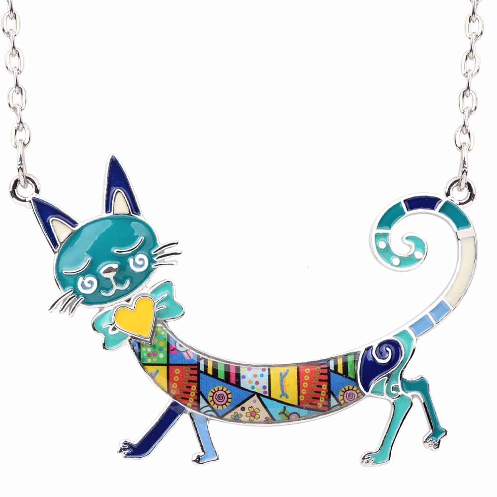 Bonsny Statement Maxi Enamel Kitten Cat Choker Necklace Alloy Pendant Chain Collar Animal Pets  Accessories Jewelry For Women