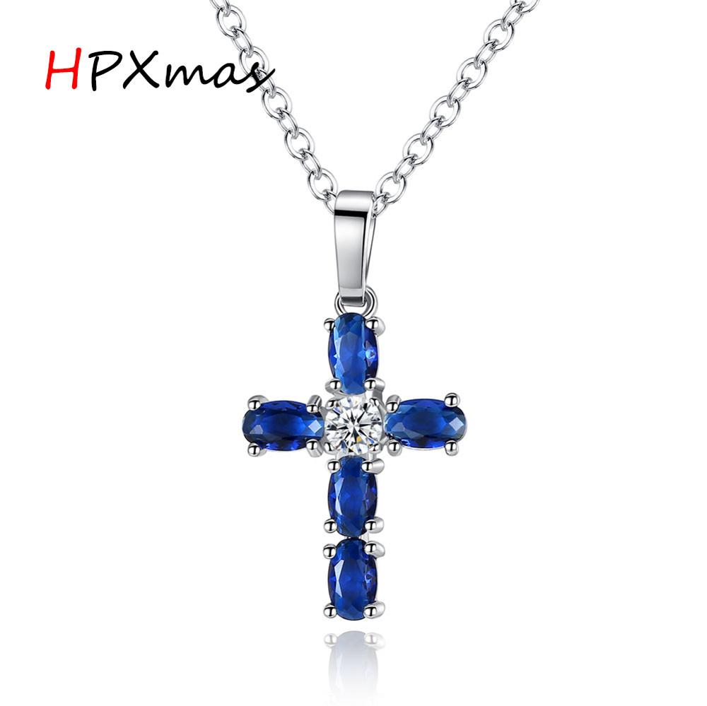 HPXmas Bible Jesus Church Alloy Crystal Cross Pendant Latin Cross Charm Necklace for Women Men's Jewelry B62(China)