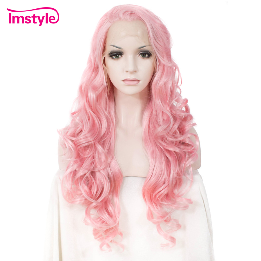 Imstyle Long Wavy Pink Wig Synthetic Lace Front Wig For Women Heat Resistant Fiber Natural Hair