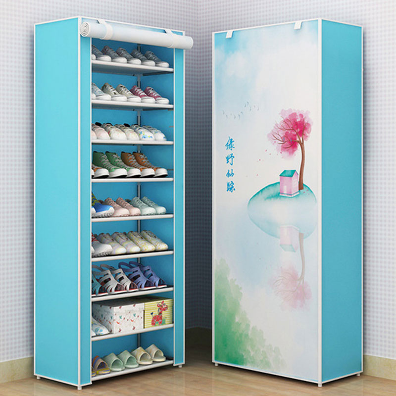 Simple DIY Combination Dustproof Shoe Cabinet Fabric Cloth Storage Shoes Rack Folding Shoe Organizer Cabinet Home Furniture