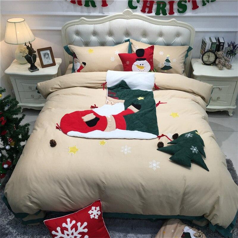 Bedding-Set Christmas-Stocking Pillowcases Duvet-Cover Bed-Linen/sheet Egyptian Cotton