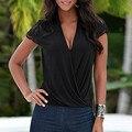 Мода Лето Blusas 2017 Сексуальные Женщины Блузки Повседневная Кружева Сращивания Шифон Рубашки Глубокий V Шеи С Коротким Рукавом Hollow Вислоухая Топы