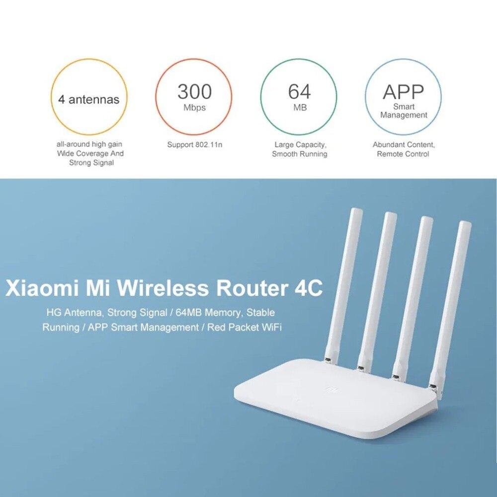 Durável Original Xiao mi mi 4c Roteador Sem Fio 2.4 ghz 300 mbps Quatro Antenas