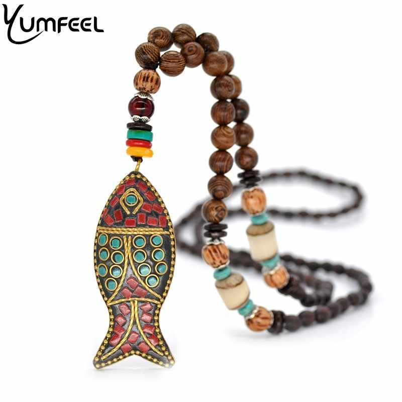 Yumfeel New Ethnic Bohemian Vintage Tribal Necklace Jewelry Handmade Fish Pendants & Necklaces Gifts