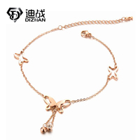 Stainless Steel Luxury Anklet Bracelet Butterfly Tassel Inlaid Zircon Rose Gold Plated Hollow Bow Small Bell