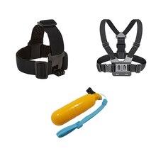 Peito + Cabeça Belt + Bobber Flutuante, monte Para gopro hero 5 4 acessórios Set SJCAM SJ4000 Ação Câmera esporte Ir pro yi 4 k ir pro