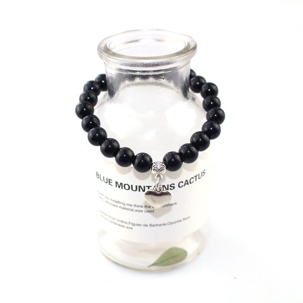 Heart Shape Alloy Pendant Boys Girls Lover Couple Obsidian 8mm Beads Women Men Bracelet Gift