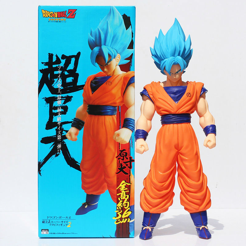 New 42cm Big Size Figure Dragon Ball Super Saiyan Son Goku Blue Hair Kakarotto PVC Action Model Figure Japanese Anime WX162 dragon ball z super big size super son goku pvc action figure collectible model toy 28cm kt3936