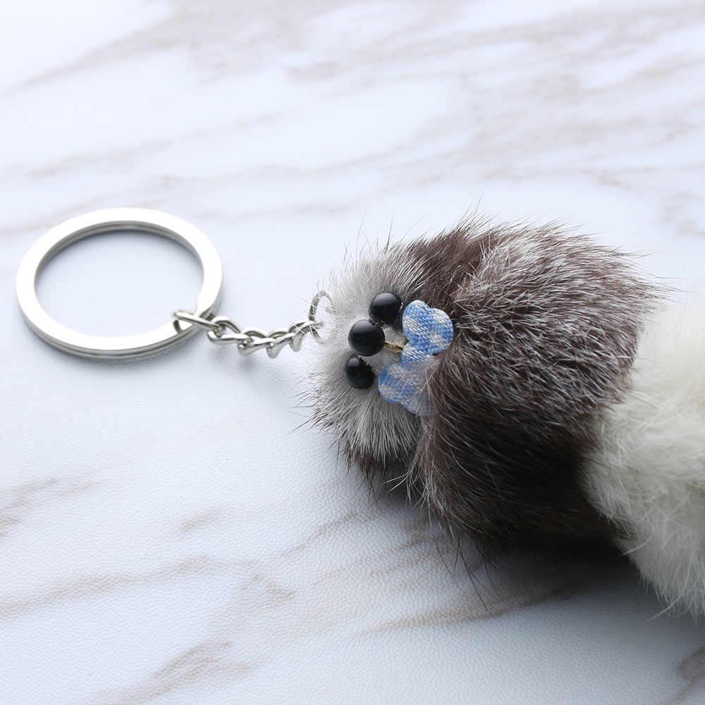 Cor aleatória!! 1 Pcs Bonito Pele Pele De Animal Chave anéis Cadeia Pingente Keychain Charme Bolsa das Mulheres da Menina de Jóias
