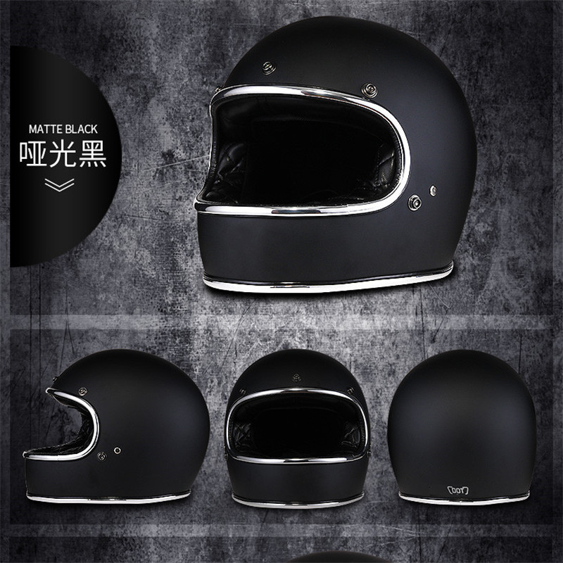 Fiberglass Full Face Motorcycle Helmet Retro Classic Vintage Style Helmet Chopper Cafe Racer Crusier Street Bike