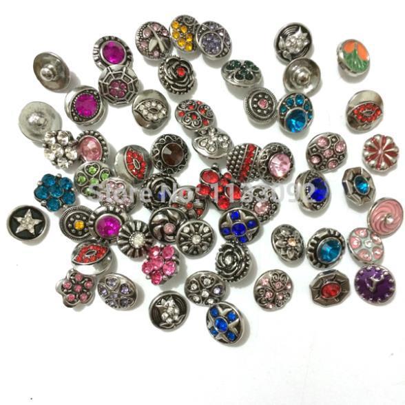 Bijoux fantaisie Wholesale Mixed Designs verre 12 mm Mini Boutons Pressions À faire soi-même Bijoux Accessoires