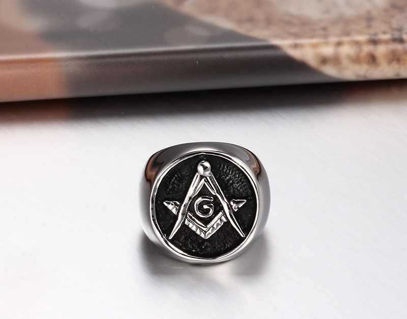 High Quality Masonic Rings Stainless Steel Black Oil Plated Freemasonry Ring For Men Big Ring SFR004