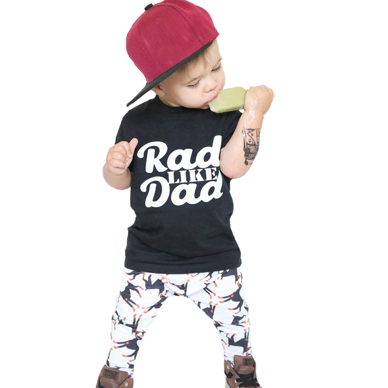 Baby Boys Clothes Summer Toddler Boy Clothing Sets 2017 New Letter Rad Like Dad T Shirt+Cartoon Dog Pants 2pcs Kids Clothing Set