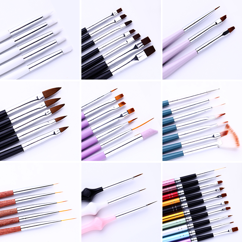 7/15pcs UV Gel Acrylic Nail Brush Set Nail Brush For Manicure Liner Drawing Painting Pen Point Designs Nail Art Tool